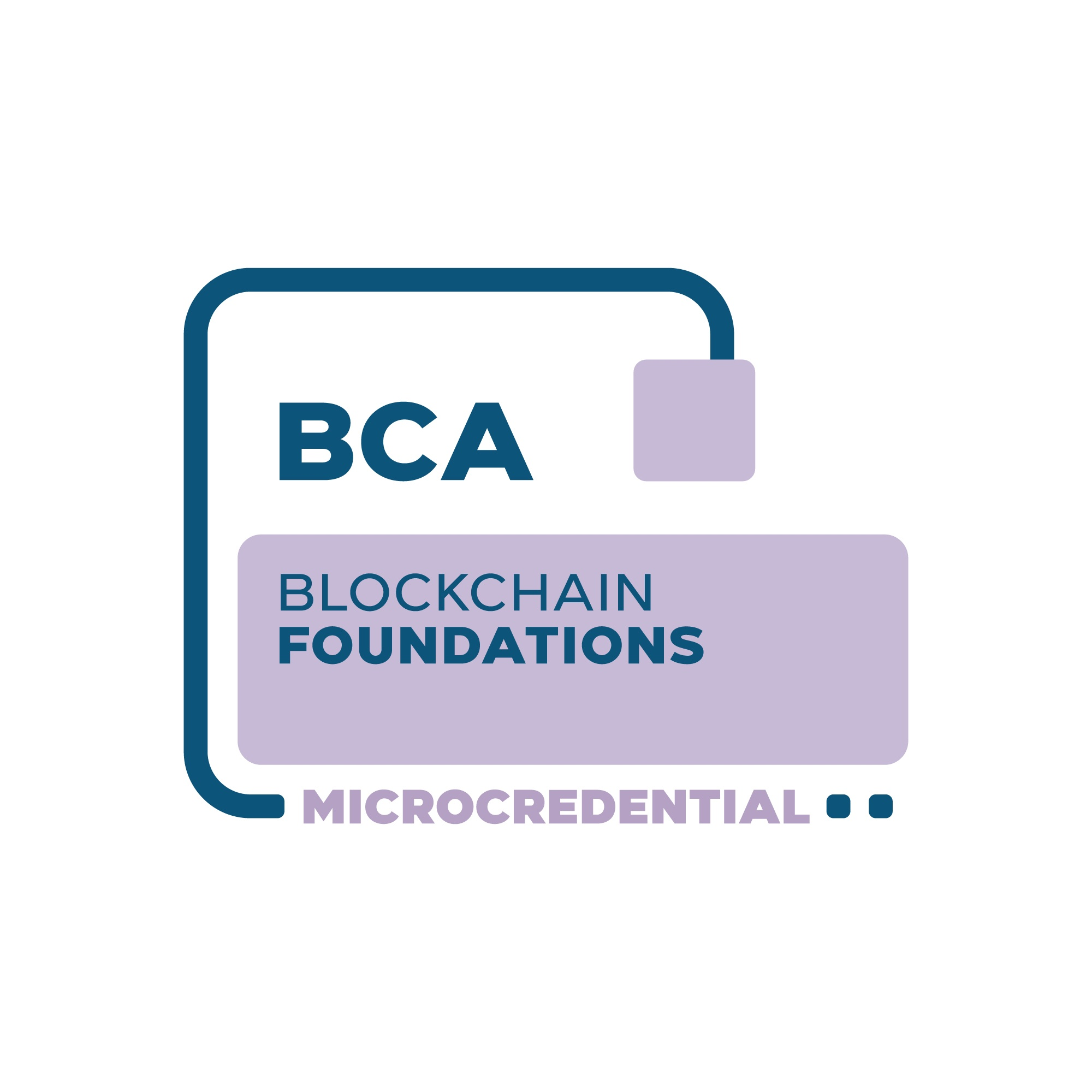 Blockchain Foundations Microcredential digital badge from the Blockchain Certification Association