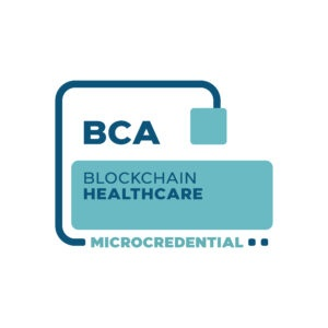 Blockchain Healthcare Microcredential digital badge from the Blockchain Certification Association