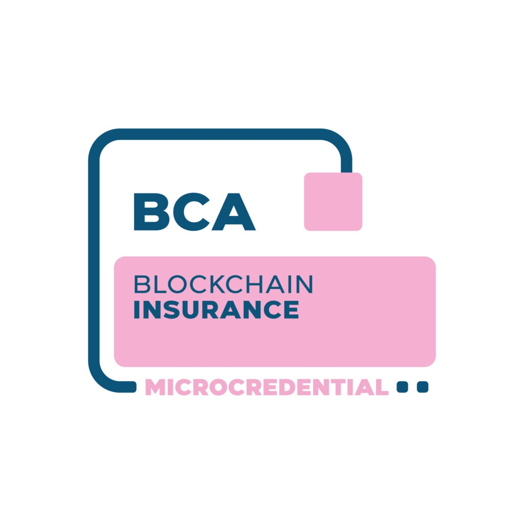 Blockchain Insurance Microcredential digital badge from the Blockchain Certification Association