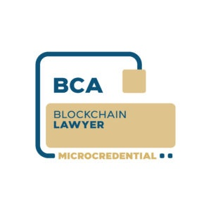 Blockchain Lawyer Microcredential digital badge from the Blockchain Certification Association