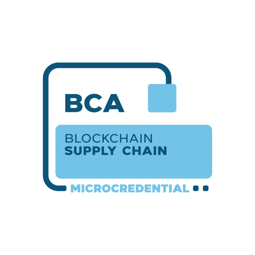 Blockchain Supply Chain Microcredential digital badge from the Blockchain Certification Association